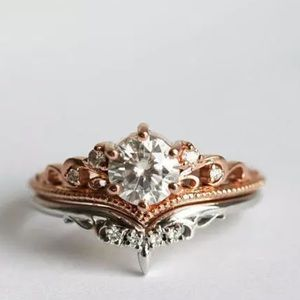 Jewelry - Rose & White Gold Sapphire Ring Set